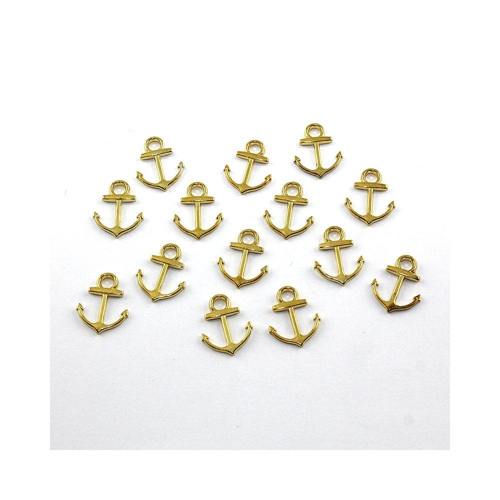Kovový přívěsek - zlatý - kotva - 19 x 15 x 5 mm - 1 ks
