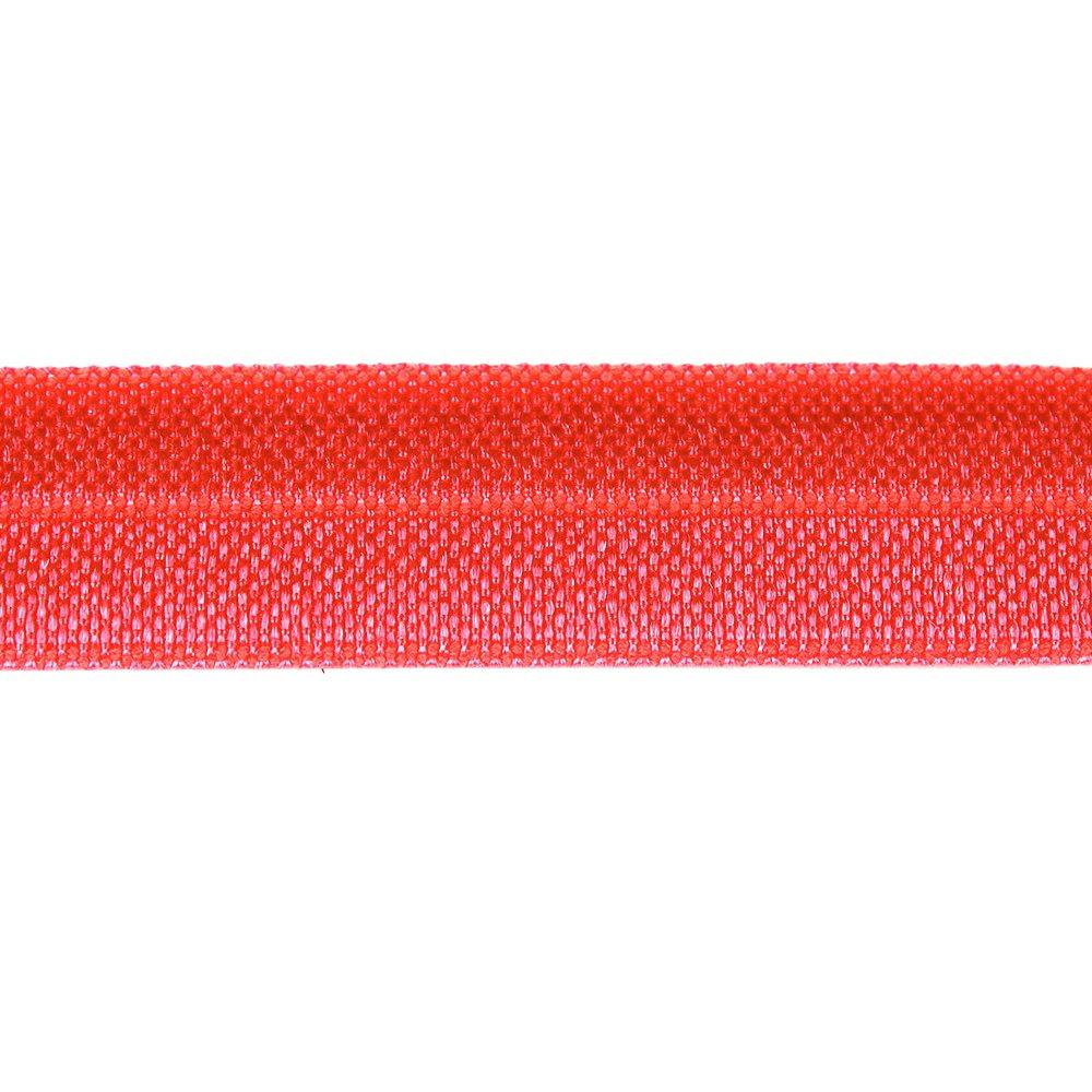 Elastická stuha - neonově korálová - 1,5 cm - 30 cm - 1 ks