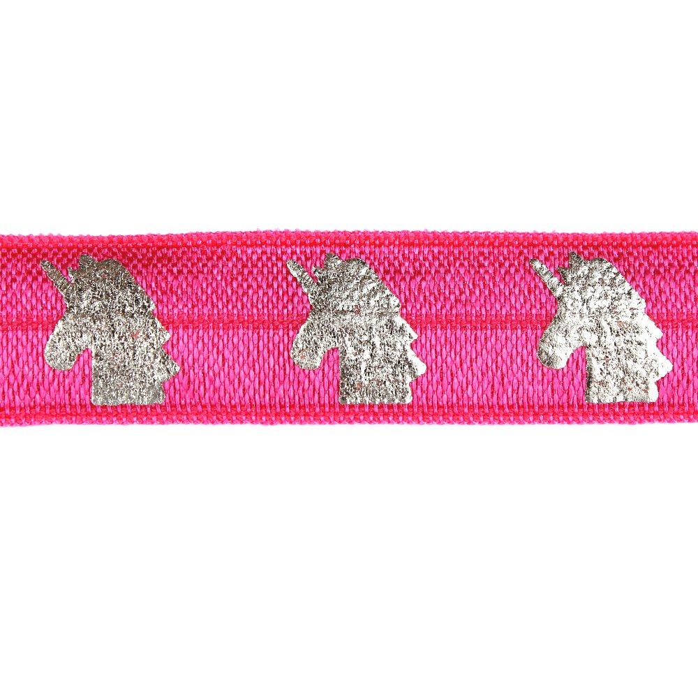 Elastická stuha - růžová - jednorožec - 1,5 cm - 30 cm - 1 ks
