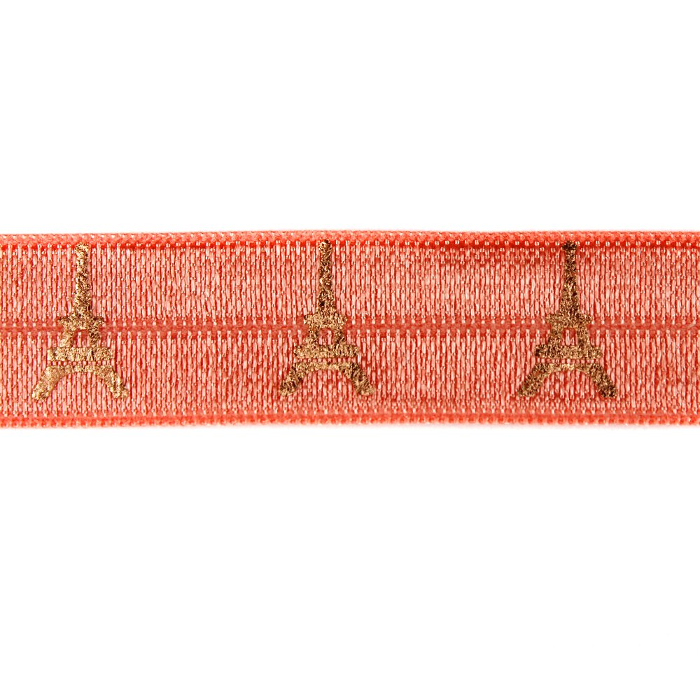 Elastická stuha - broskvová - Eiffelova věž - 1,5 cm - 30 cm - 1 ks