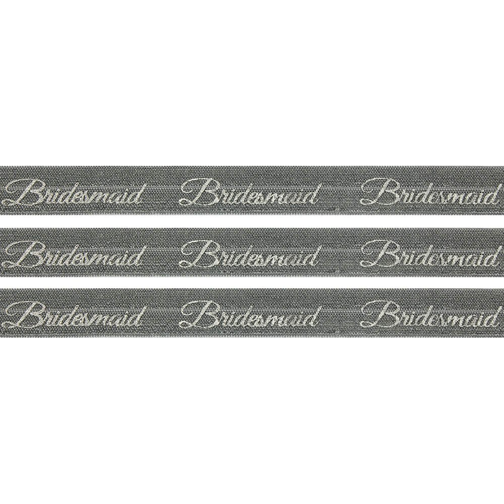 """Elastická stuha - šedá - """"bridesmaid"""" - 1,5 cm - 30 cm - 1 ks"""