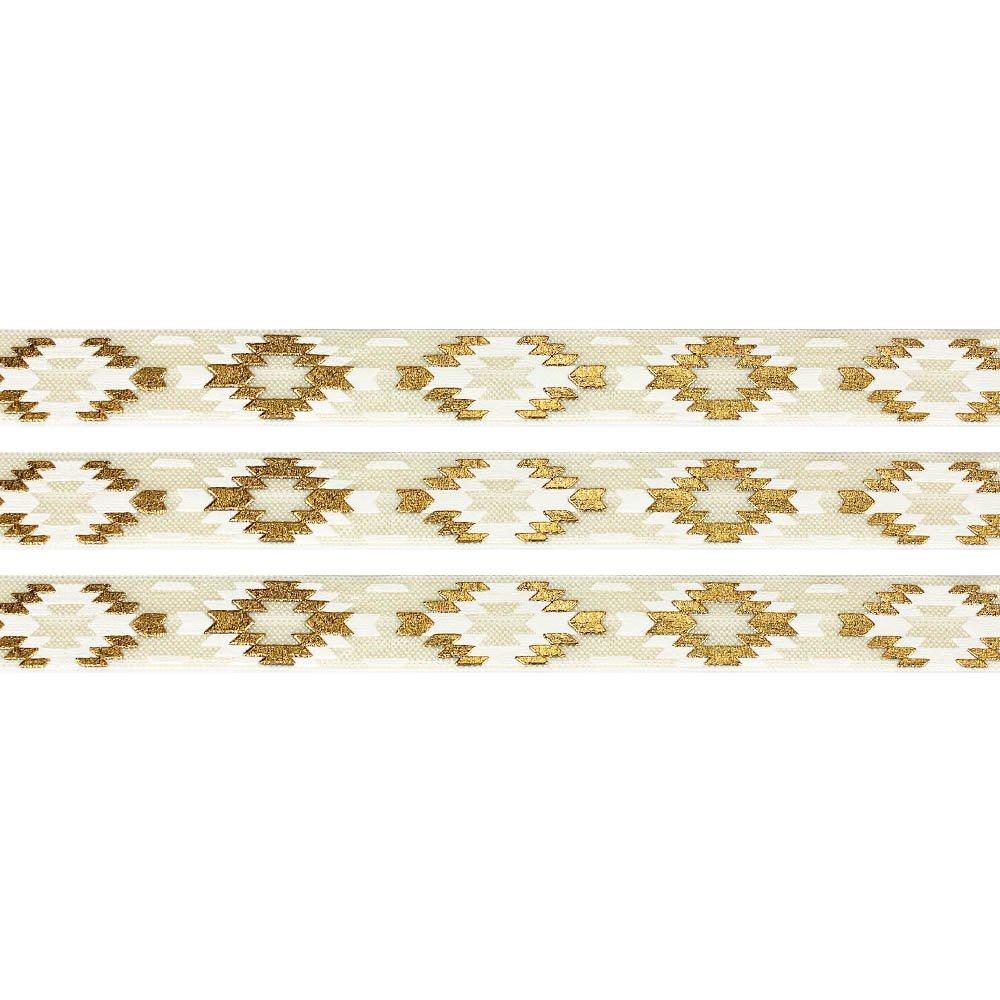 Elastická stuha - krémová - aztécký kosočtverec - 1,5 cm - 30 cm - 1 ks
