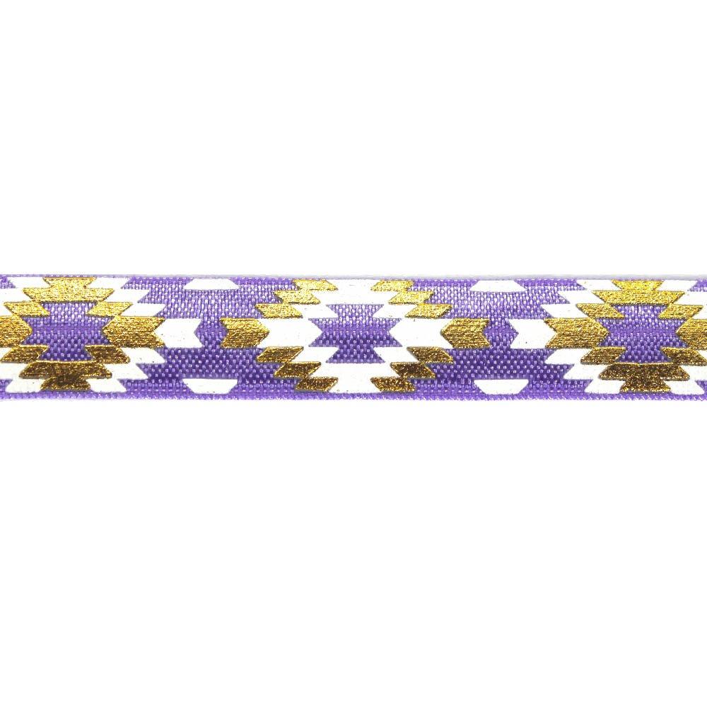 Elastická stuha - fialová - aztécký kosočtverec - 1,5 cm - 30 cm - 1 ks
