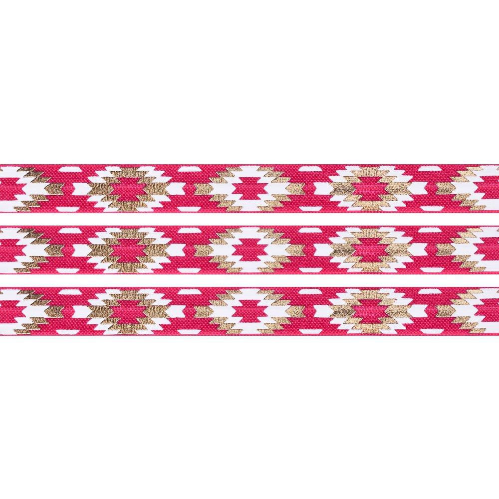 Elastická stuha - malinová - aztécký kosočtverec - 1,5 cm - 30 cm - 1 ks