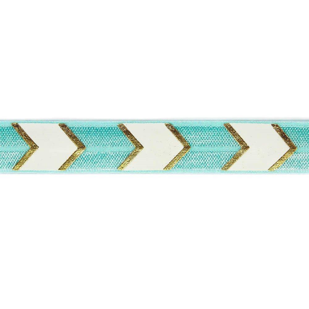 Elastická stuha - tyrkysová - šipka - 1,5 cm - 30 cm - 1 ks