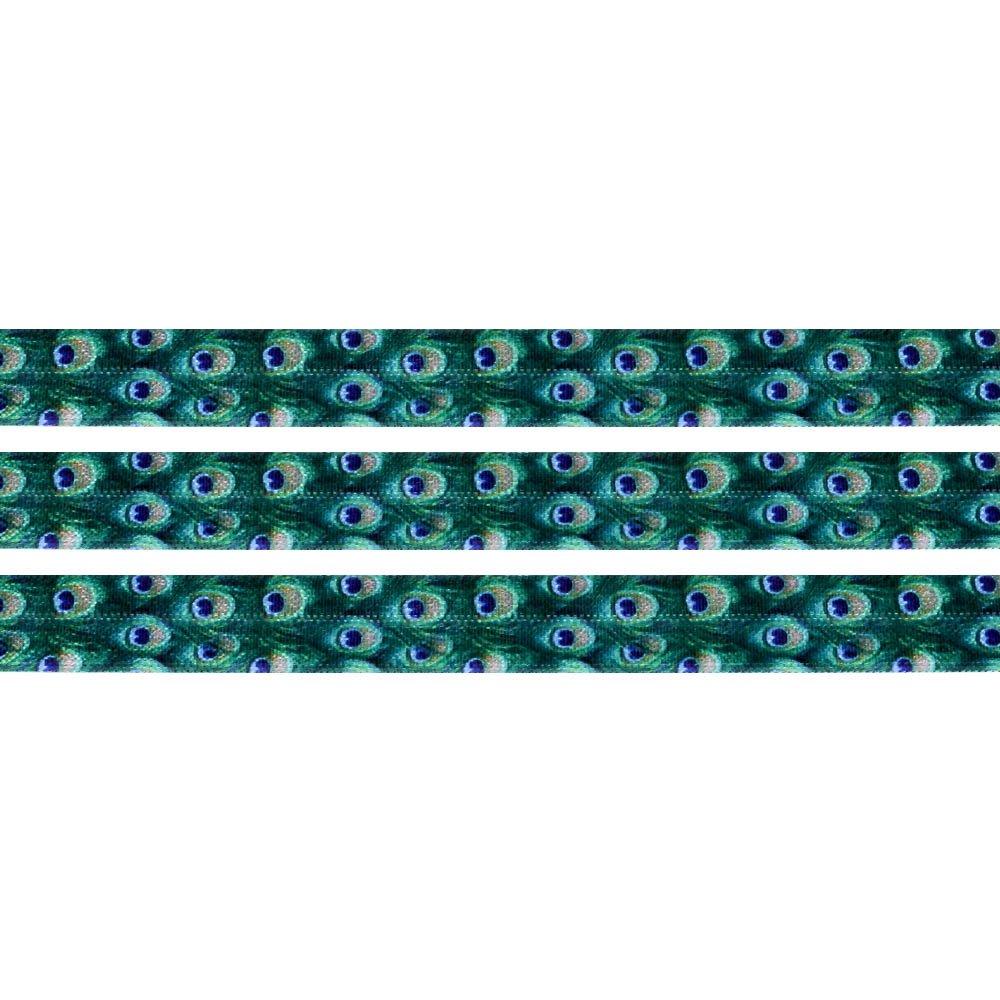 Elastická stuha - smaragdová - paví peří - 1,5 cm - 30 cm - 1 ks