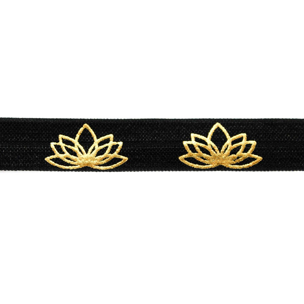 Elastická stuha - černá - lotosový květ - 1,5 cm - 30 cm - 1 ks