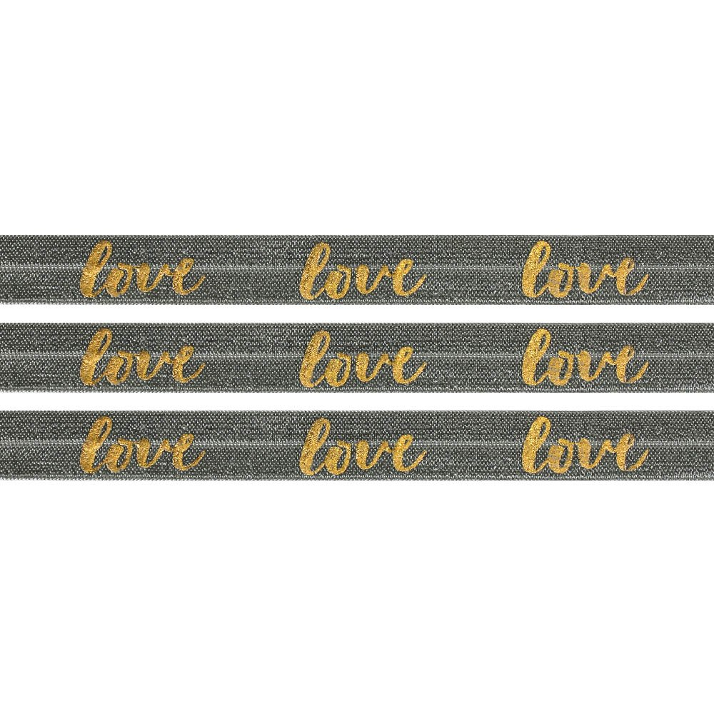 "Elastická stuha - tmavě šedá - ""love"" - 1,5 cm - 30 cm - 1 ks"