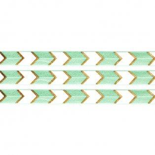 Elastická stuha - mátová - šipka - 1,5 cm - 30 cm - 1 ks