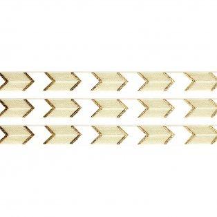 Elastická stuha - krémová - šipka - 1,5 cm - 30 cm - 1 ks
