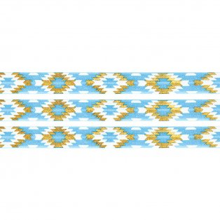Elastická stuha - modrá - aztécký kosočtverec - 1,5 cm - 30 cm - 1 ks