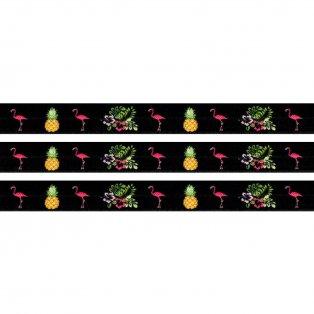 Elastická stuha - černá - plameňák & ananas & ibišek - 1,5 cm - 30 cm - 1 ks