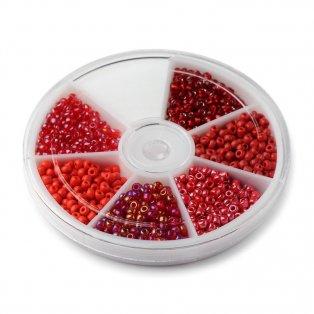 Krabička mezidílů - červený mix - Ø 3 mm - 1270 ks