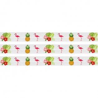 Elastická stuha - bílá - plameňák & ananas & ibišek - 1,5 cm - 30 cm - 1 ks