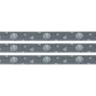 Elastická stuha - šedá - mušle - 1,5 cm - 30 cm - 1 ks