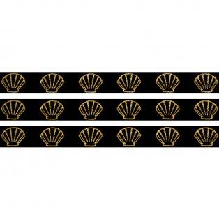 Elastická stuha - černá - mušle - 1,5 cm - 30 cm - 1 ks