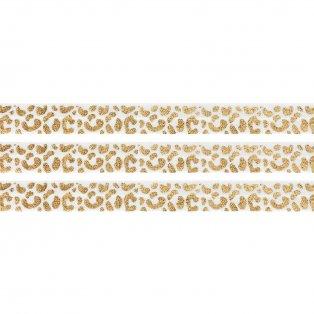 Elastická stuha - bílá - leopardí vzor - 1,5 cm - 30 cm - 1 ks