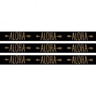 """Elastická stuha - černá - """"aloha"""" - 1,5 cm - 30 cm - 1 ks"""