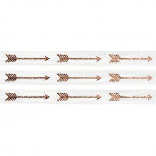 Elastická stuha - bílá - šíp - 1,5 cm - 30 cm - 1 ks