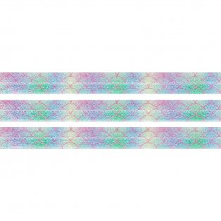 Elastická stuha - duhová - rybí šupiny - 1,5 cm - 30 cm - 1 ks