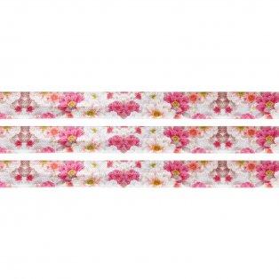 Elastická stuha - růžová - chryzantémy - 1,5 cm - 30 cm - 1 ks