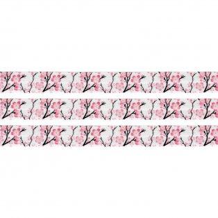 Elastická stuha - bílá - sakura - 1,5 cm - 30 cm - 1 ks