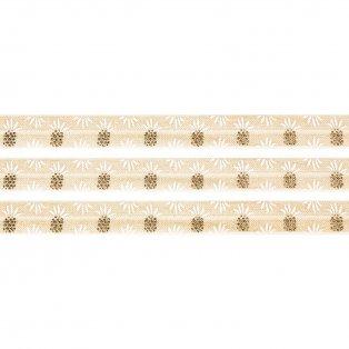 Elastická stuha - krémová - ananas - 1,5 cm - 30 cm - 1 ks