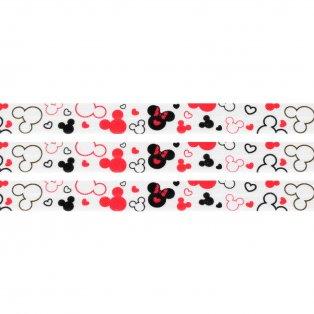 Elastická stuha - bílá - Mickey Mouse - 1,5 cm - 30 cm - 1 ks