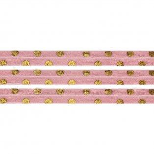 Elastická stuha - světle růžová - puntíky - 1,5 cm - 30 cm - 1 ks