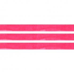 Elastická semišová stuha - neonově růžová - 1 cm - 30 cm - 1 ks