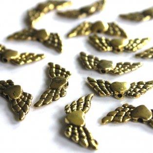 Křídla tvar srdce - zlatá - 22 x 9 mm - 1 ks