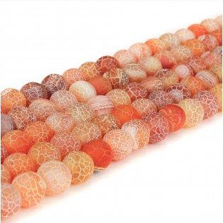 Přírodní ledový achát - oranžový - ∅ 6 mm - 1 ks