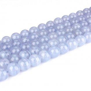 Přírodní modrý krajkový achát - třída AB - ∅ 8 mm - 1 ks