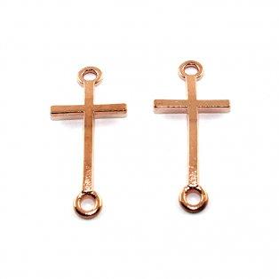 Kříž - růžově zlatý - 39 x 17 x 2 mm - 1 ks