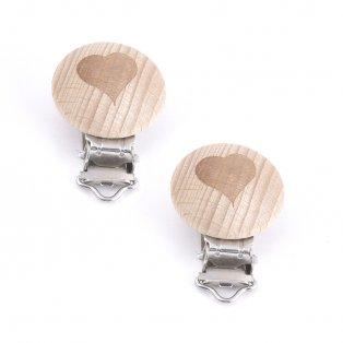 Dřevěný klip na dudlík - srdce - přírodní - 45 x 30 x 18 mm - 1 ks
