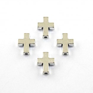 Kovový korálek - kříž - starostříbrný - 15 x 12 x 5 mm - 1 ks