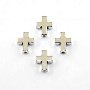Kříž - stříbrný - 15 x 12 x 5 mm - 1 ks