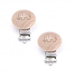 Dřevěný klip na dudlík - slon - přírodní - 45 x 30 x 18 mm - 1 ks