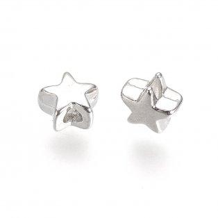 Kovový korálek - starostříbrný - hvězda - 5 x 5 x 3,5 mm - 1 ks