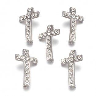 Kříž - stříbrný - 17 x 29 x 5 mm - 1 ks