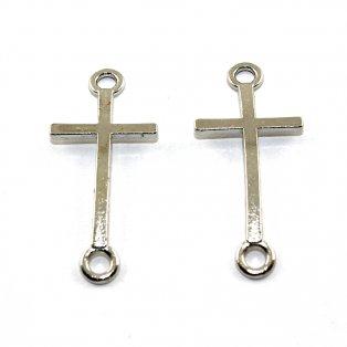Kříž - stříbrný - 39 x 17 x 2 mm - 1 ks