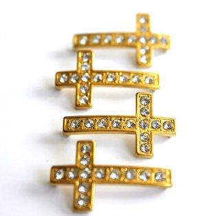 Kříž - zlatý - 17 x 29 x 5 mm - 1 ks