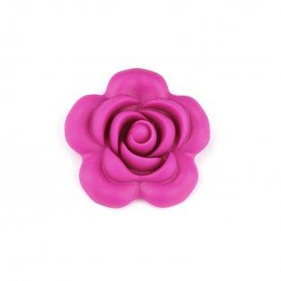 Silikonový korálek - fuchsiový - růže - 40 x 40 x 15 mm - 1 ks