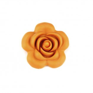 Silikonový korálek - hořčicově žlutý - růže - 40 x 40 x 15 mm - 1 ks