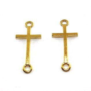 Kovový mezidíl - zlatý - kříž - 17 x 39 x 2 mm - 1 ks