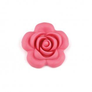Silikonový korálek - korálový - růže - 40 x 40 x 15 mm - 1 ks