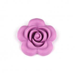 Silikonový korálek - fialkový - růže - 40 x 40 x 15 mm - 1 ks