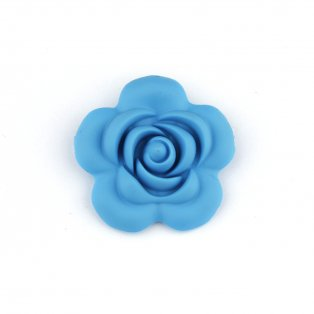 Silikonový korálek - modrý - růže - 40 x 40 x 15 mm - 1 ks