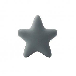 Silikonový korálek - tmavě šedý - hvězda - 37 x 37 x 10,5 mm - 1 ks