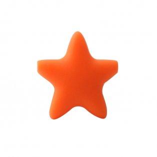 Silikonový korálek - oranžový - hvězda - 37 x 37 x 10,5 mm - 1 ks